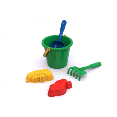 Набор для песочницы №4 (5 предметов: ведерко, лопатка, грабельки, 2 формочки)