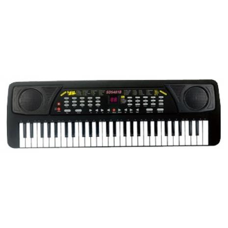 Синтезатор (пианино электронное) черный 54 клавиши с микрофоном.