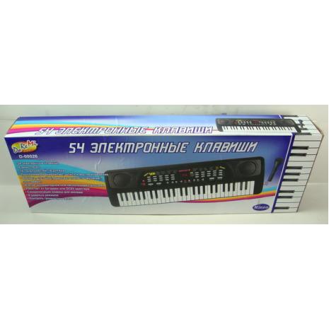 Синтезатор черный 54 клавиши, с микрофоном.