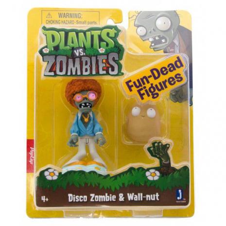 Фигурки Диско-Зомби (Disco Zombie) и Грецкий Орех (Walnut), 8см, Растения против Зомби (Plants vs Zombies)