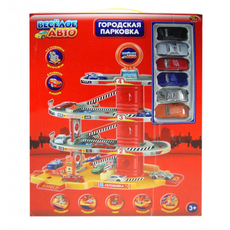 """Парковка """"Веселое авто"""" 4-х уровневая, в наборе 6 машинок, PT-00174(2388A-3)"""