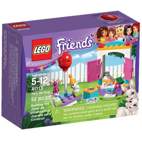 У пары белых кроликов очень ответственное задание. Сегодня они должны пойти в магазин и купить подарок на День рождение их подруге. Если малыши всё сделают правильно, то их будет ждать награда. После покупок они смогут полакомиться сладкими морковками и поиграть на детской площадке.  Из деталей набора Лего 41113 Вы сможете построить оригинальную модель магазина подарков. Его фасад выполнен в виде высокой белой арки с покатой голубой крышей. Около входа видны демонстрационные стенды с выставленными на них лакомствами и украшениями для волос. Чтобы попасть в магазин, необходимо пройти мимо распашных розовых ставней. Днём они открыты, а на ночь закрываются, надёжно скрывая установленный внутри кассовый аппарат и деньги.