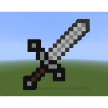 Меч пиксельный железный из игры Майнкрафт